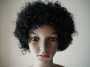 NEW QUALITY FANCY DRESS 70/'S DISCO AFRO FUNKY CURLY CLOWN WIG BLACK