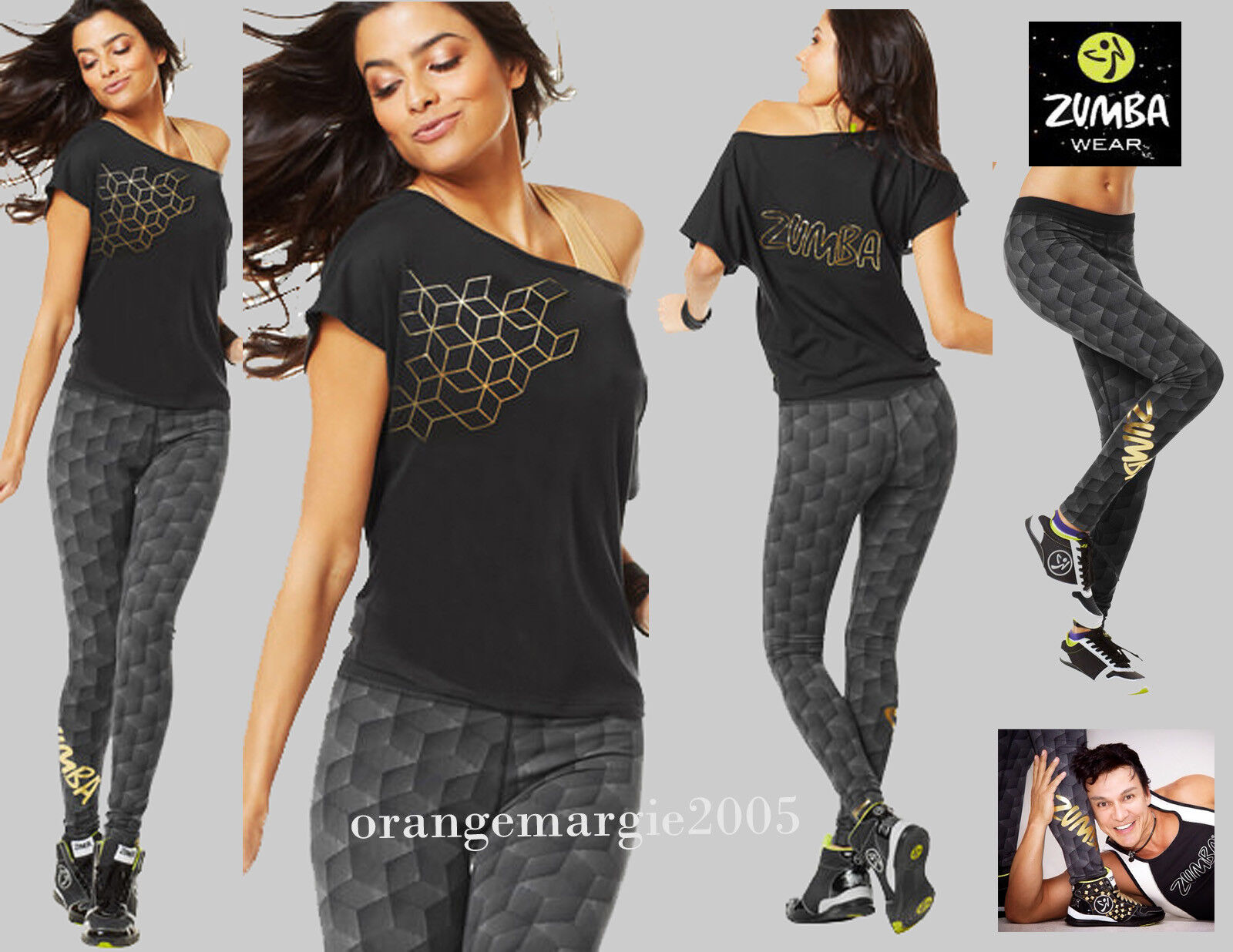 ZUMBA 2Pc.SET  Foil Me Once Long Leggingsgold Metallic+Boxy Off Shouler Top Tee