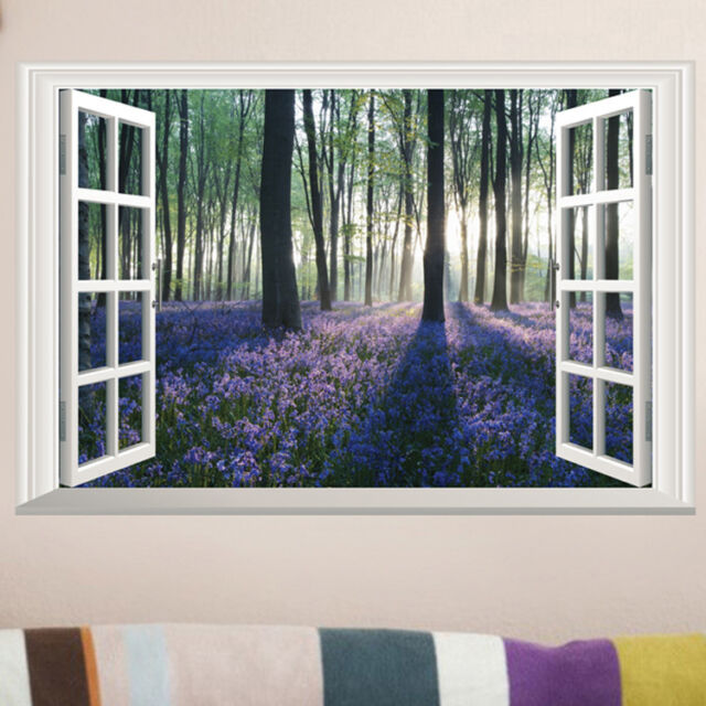 Blossoming Lavender Forest Removable Wall Sticker Vinyl Art Decal DIY Room Decor