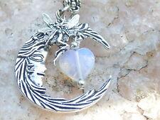 Fairy Moon Necklace, Fairy, Celestial Pendant, Moon stone Heart, Fantasy Jewelry