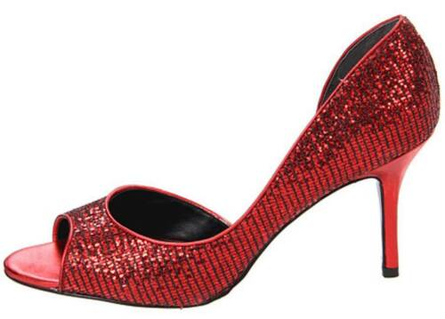 Womens Shoes NINA New York FERN d/'Orsay Dress Peeptoe Pumps Party Glitter RED