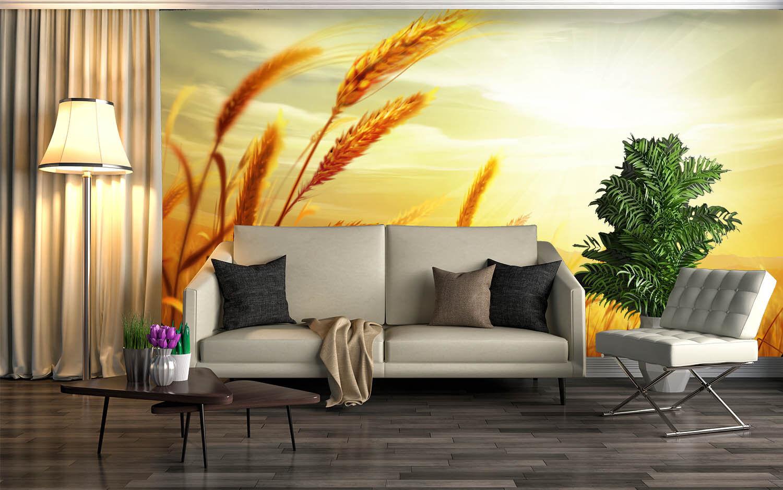 3D Wheat Gold 4266 WandPapier Murals Wand Drucken WandPapier Mural AJ Wand UK Lemon