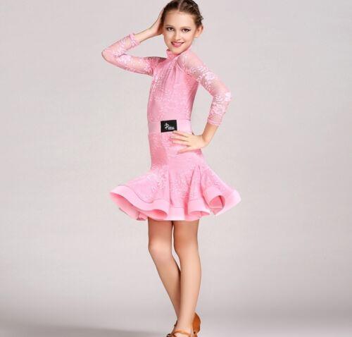 2017 NEW Childrens Latin Salsa Ballroom Dance Dress Girls Dancewear #FY1046+1047