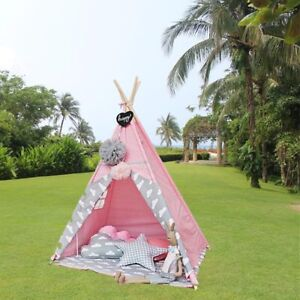 Image is loading Pink-Teepee-Tent-Kids-Indian-Playhouse-Sleeping-Dome- & Pink Teepee Tent Kids Indian Playhouse Sleeping Dome Indoor Easy ...