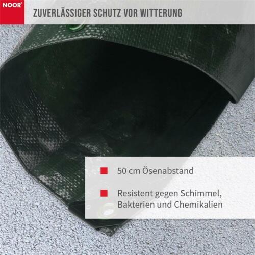 Noor Abdeckplane Profi 140g//m² grün mit Ösen 3 x 4m Plane Pool außen Gewebe NEU