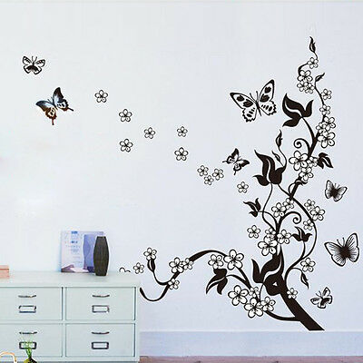 New Beautiful Vinyl Butterfly Flowers Tree Wall Mural Decal Sticker Home Decor