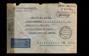 Germany WWII POW Mail to USA Censor 1944 Uncommon Berlin Censor Air Cover 6p