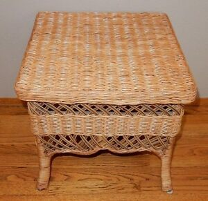 Image Is Loading Bamboo Rattan Wicker Side Table Plant Stand End
