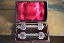 ANTIQUE Victorian Knife Rests Original Velvet Lined Box Sterling Silver & Glass