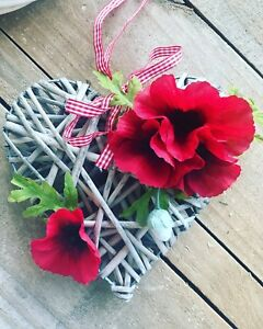 Remembrance sunday artificial silk flower faux poppy wreath wicker image is loading remembrance sunday artificial silk flower faux poppy wreath mightylinksfo