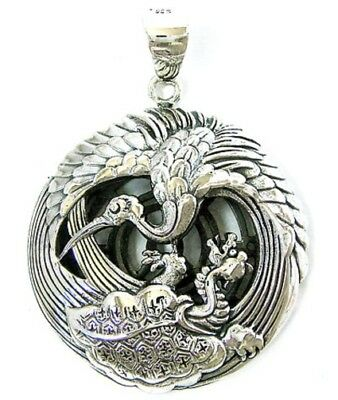 """JAPANESE """"CRANE & TURTLE"""" SOLID STERLING 925 SILVER PENDANT"""