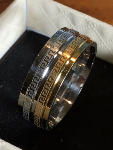 men/'s wedding band  sterling silver sf and 18ct yellow gold gf unisex ring