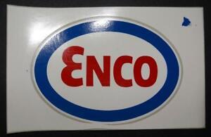 "Vintage Original Enco Sticker Gas Oil Advertising 5"" Oval Exxon Esso"