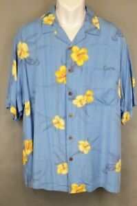 Original-island-sport-Hawaiian-shirt-men-039-s-size-L-Short-sleeves-Tropical-Blue