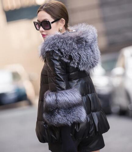 Collar Winter Cotton Down Sort Jacket Hooded Fur Læder Sølv Kvinders J Coat zq0t7