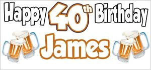 Beer-40th-Birthday-Banner-x-2-Party-Decorations-Mens-Husband-Dad-Grandad-Son
