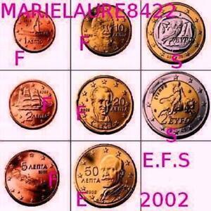 RARE SERIE DE 8 PIECES 1CENT à 2€ GRECE  2002 AVEC LETTRE*S*F*E* UNC-Neuve