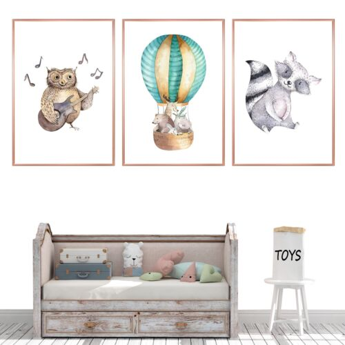 Animals Baby Childrens Nursery Wall Art Prints Decor Pictures For Boy or Girl
