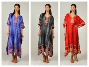 Free-Size-plus-size-Kaftan-Holiday-Dress-Beach-Cover-up-fits-16-18-20-22-24