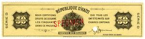 I-B-Haiti-Revenue-Tobacco-Duty-50-Cigars-ABN-Specimen