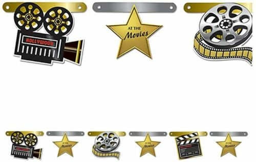 AT THE MOVIES Jointed Banner Party Hanging Wall Decorations Hollywood Stars Film