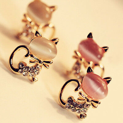 Fashion Women Korean Cute Cat Stone Crystal Rhinestone Stud Earrings Jewelry New