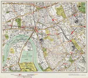 Hammersmith West Kensington Area Map London 1932 73 74 Ebay