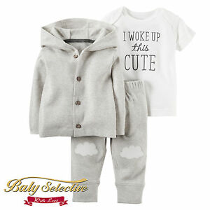 4d385c575 Carter's Baby Boys Cotton 3 Piece Babysoft Cardigan Top Pants Set(6 ...