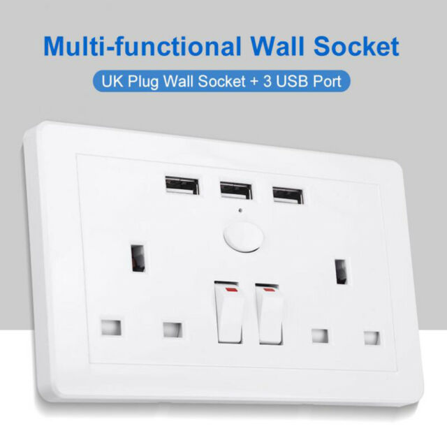 UK Plug Multi-functional Electric Wall Power Outlet Socket 3USB Port AC 110~250V