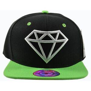 Image is loading Diamond-Black-Hat-Green-Brim-White-Embroidered-Snapback- 9f7f88af147