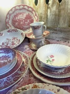 26-pc-4-place-sets-Vintage-Mismatched-pink-red-Transferware-Dinnerware-Set-24