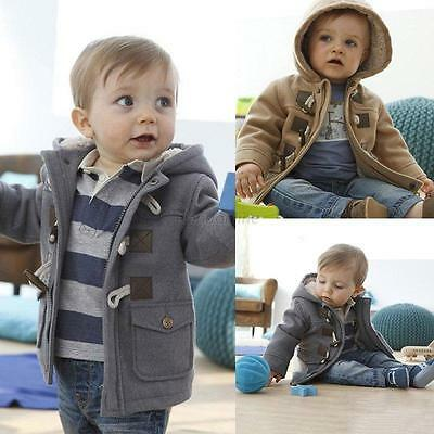 Toddler Baby Boys Winter Warm Outerwear Hooded Coat Snowsuit Fleece Jacket 0-5Y