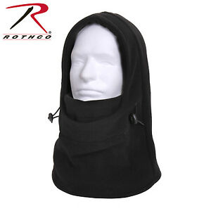 Rothco 55580 3 In 1 Adjustable Double Layer Fleece Balaclava - Black