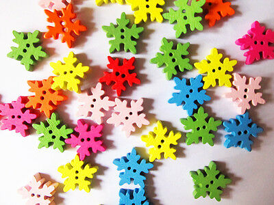 20-100pcs Mixed Colored Snowflake Wood Wooden Button Sewing Scrapbook DIY 18mm