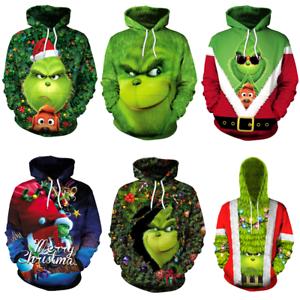 The Grinch 3D Hoodies Cosplay Men Women Funny Pullover Sweatshirt Sweater Coat