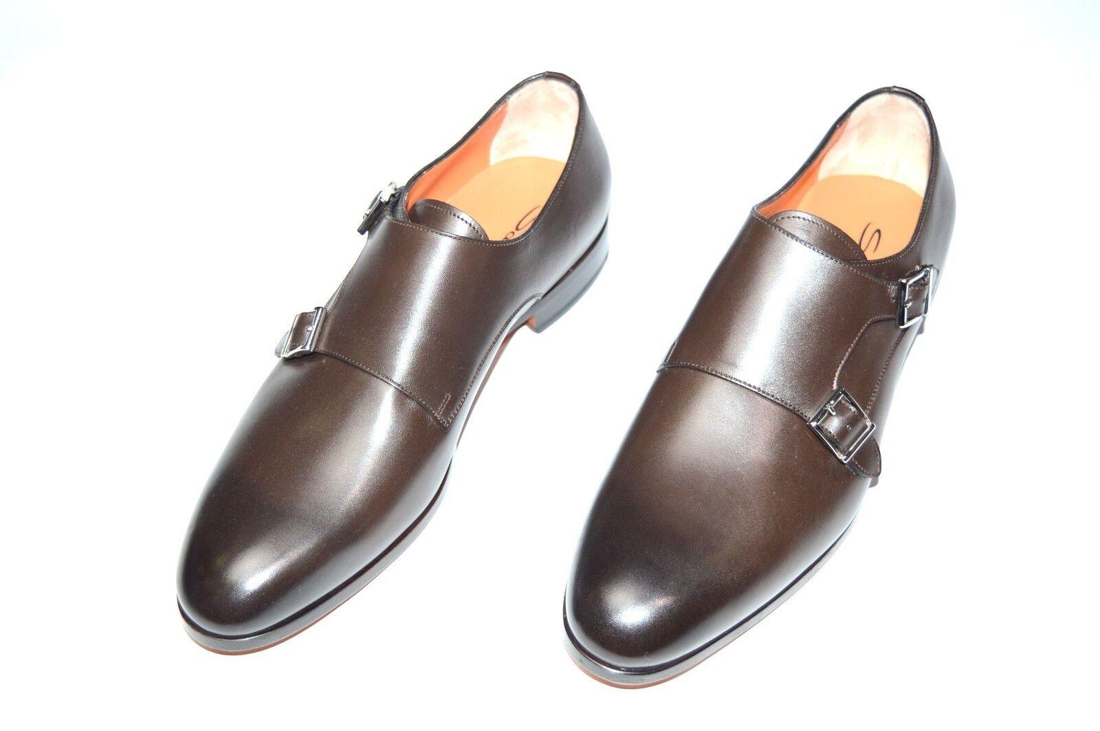NEW SANTONI Dress Pelle Shoes Monk Strap SIZE Eu 40.5 Uk 6.5 Us 7.5 (18R)