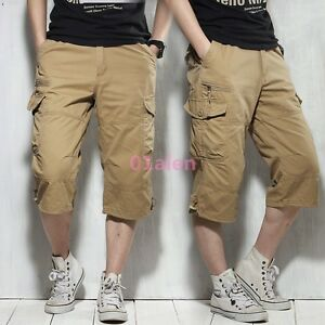 Mens-Mid-Long-Cotton-Blend-Cargo-Baggy-Straight-Leg-Casual-Shorts-Military-Pants