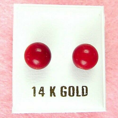 14K Yellow Gold - 8mm Red Coral Ball Stud Earrings (GE233)