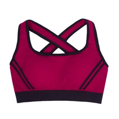 Womens Yoga Sports Running Bra Crop Top Vest Stretch Bras Shaper Padded GOUS