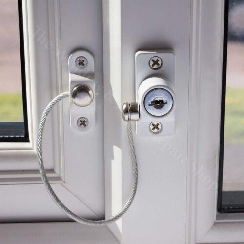 4 x blanc fenêtre porte bride de verrouillage de sécurité upvc enfant sécurité câble