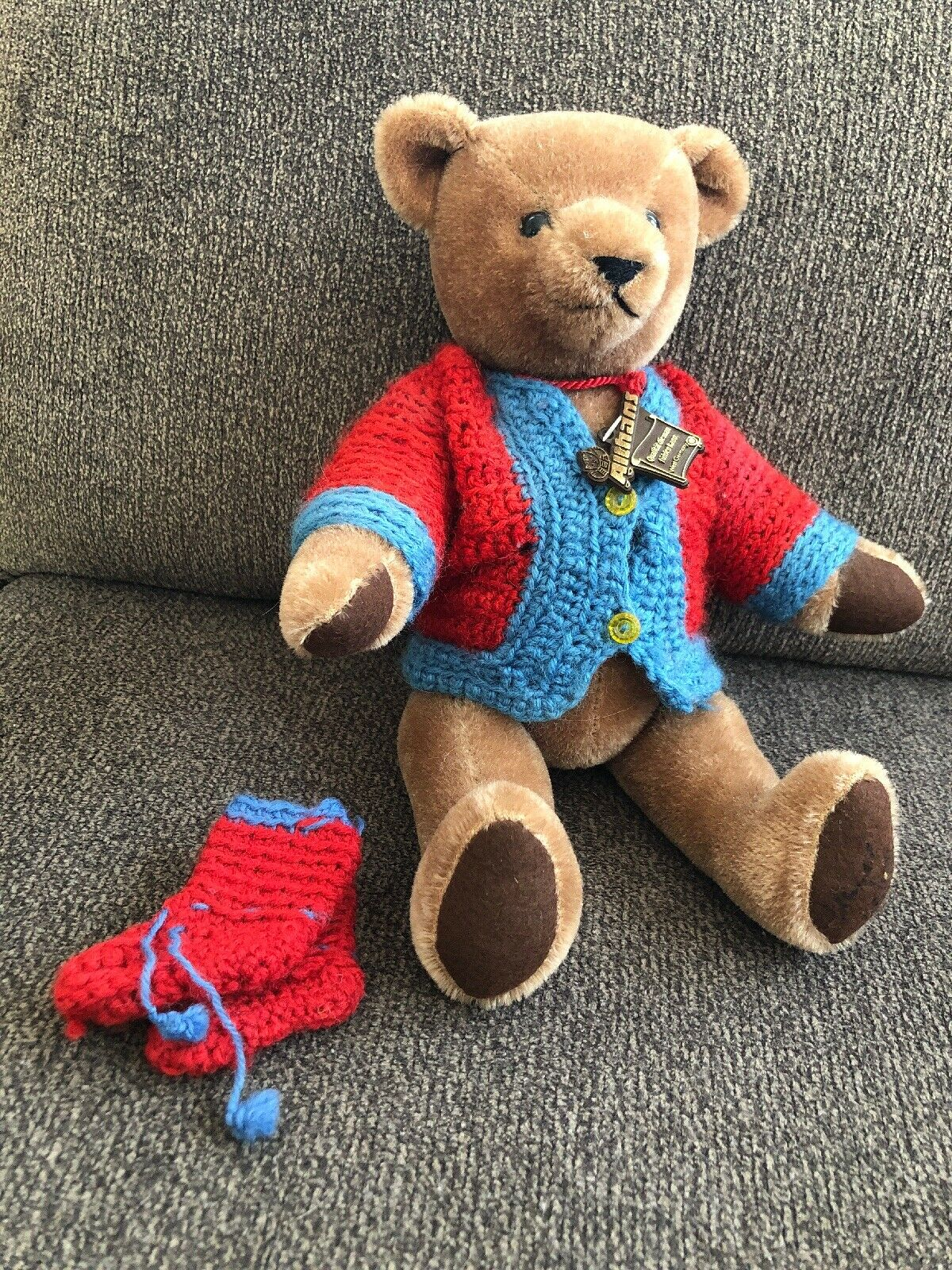 VTG Althans Teddy Bear Mohair Fully Jointed West Germany All Tags & Signed Foot