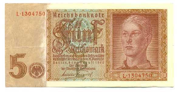 Germany Reichsbanknote 5 Reichsmark 1.8. 1942 VF #179a