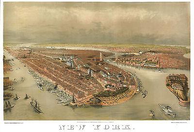 "1874 Brooklyn Bridge New York City 24/""x18  ART PRINT Island Battery Park"