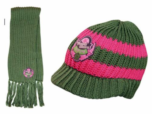 2er Set für Kinder Mütze u Youngstars one Size mit Motiv Grün-Pink NEU Schal