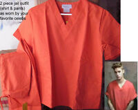 Justin Bieber Orange Jail Prison Outfit Inmate Halloween Costume Shirt & Pants