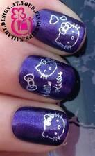 NAIL Art Water Trasferimenti Adesivi decalcomanie Decorazione Set Argento Hello Kitty #454