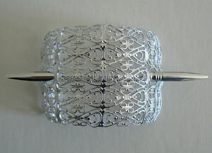 SALE-Filigree-Vintage-Hair-Clip-Pin-West-Germany-Light-Weight-Never-Worn-SilverA