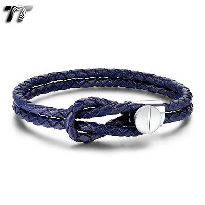 Top Quality TT Blue Leather 316L Stainless Steel Bracelet Wristband (BR204FS)