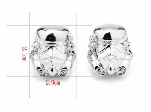 Plata plateado Star Wars 3D Storm Trooper Cufflinks Gemelos Darth Vader Movie