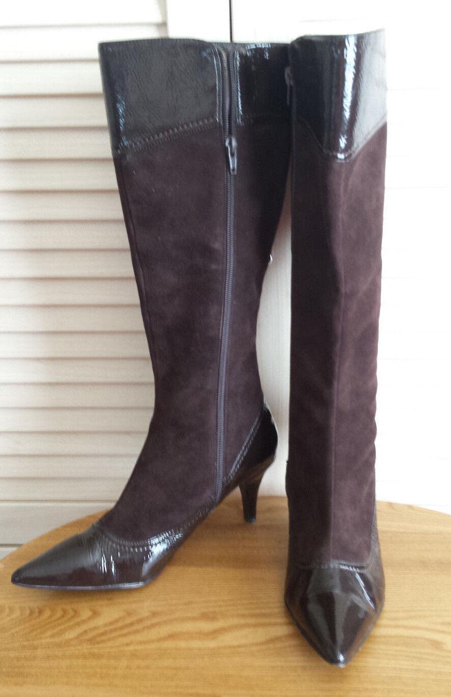 BCBG Max Azria Women's Dark Brown Pointy Toe Suede Knee High Boots Size 8.5M